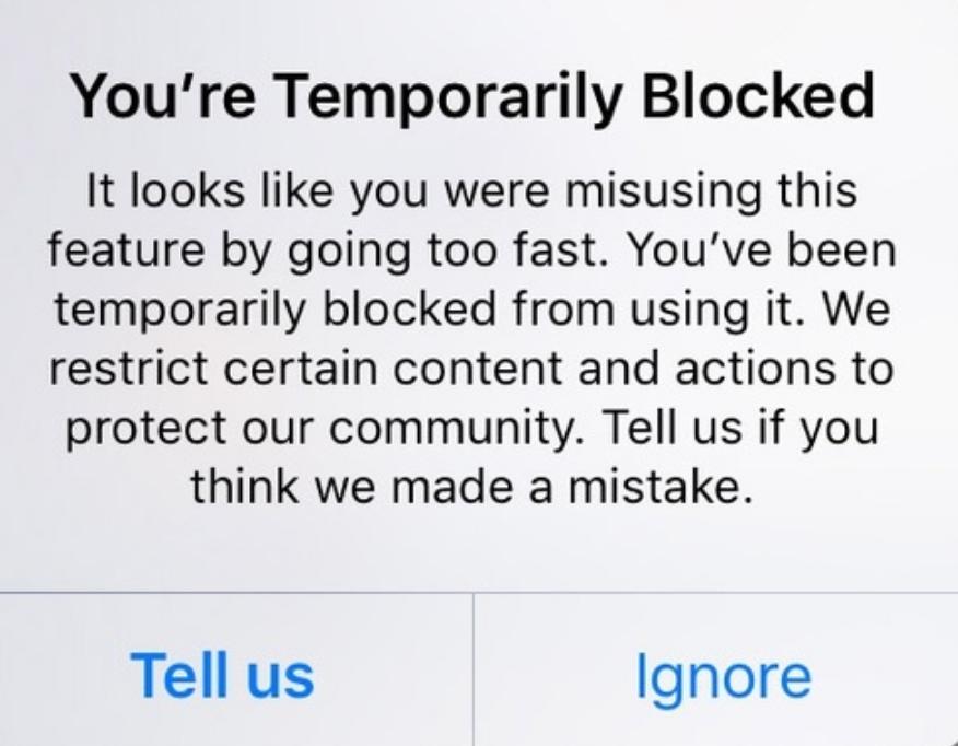remove instagram action block