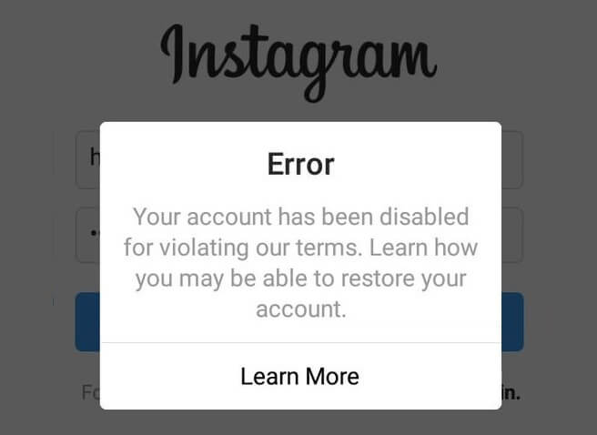 recover disabled instagram account