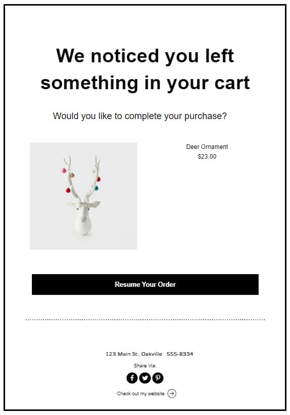 abandon cart email
